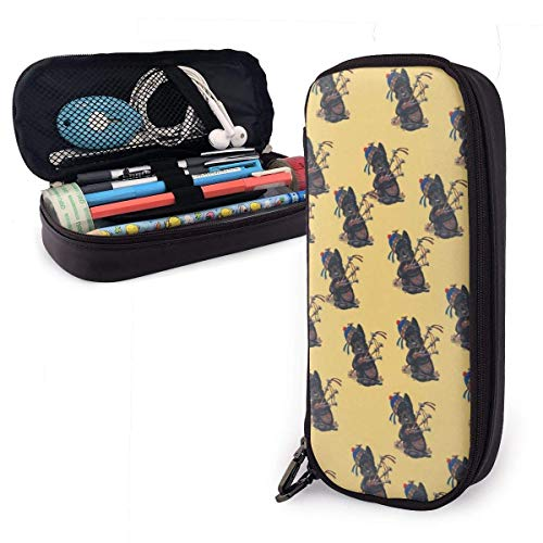 Hdaw Scottie Dog with Bagpipes Pattern Pen Case-Portable Pencil Pouch Stationery Holder Big Capacity for Pencils Markers School Supplies Students Office Clerks