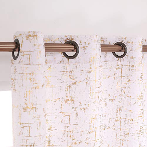 """Taisier Home Gold Foil Print Linen Textured Curtains Geometric Dots Pattern Design Curtains for Bedroom Living Room Thermal Insulated Window Treatment 2 Panels 84"""" L,White and Gold Curtains Print"""