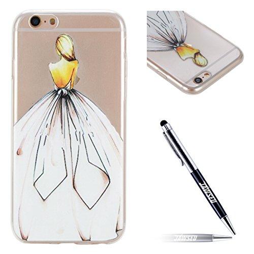 JAWSEU QL0001647-ALL iPhone 6S beschermhoes, iPhone 6 siliconen telefoonhoes, iPhone 6/6S 4.7 Zoll, Witte jurk meisje