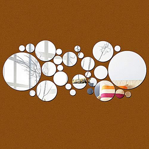 30pcs Laminas Vinilo Espejos circulo Redondos Auto-Adhesivo Decorativo Moderno para Pared de salón baño habitación , Hoja de Espejo sin Vidrio para Superficies Lisas, Diferentes tamaños en el Pack