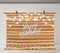 HD10x7ftお誕生日おめでとう写真の背景カラフルな紙吹雪素朴な木の板写真の背景お誕生日おめでとうパーティーケーキテーブルバナー写真スタジオ小道具BJSYFU5