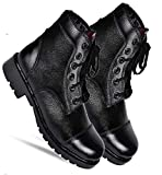 Para Commando Mens Black Genuine Leather NCC Military Army Boot Shoes with Steel