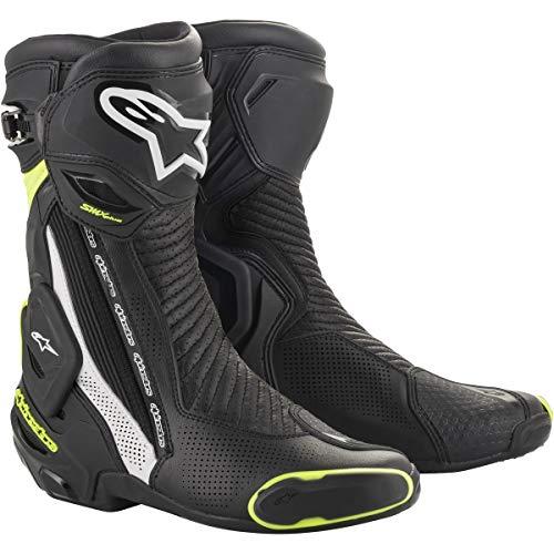 Alpinestars Men's SMX Plus V2 Motorcycle Riding Boot, Black/White/Yellow, 45