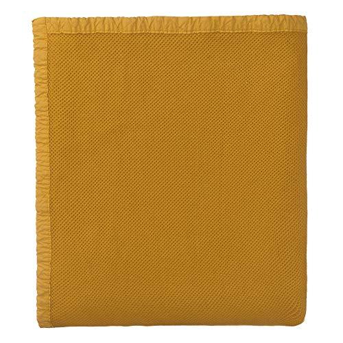 """URBANARA Tagesdecke """"Tabua""""100% Baumwolle, Senfgelb im Waffelmuster mit Stonewashed Effekt- 275 x 265 cm, Tagesdecke, Sofadecke, Plaid, Bett-Überwurf"""