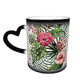 Oaieltj Tazas cambiantes de calor divertidas Hawaii acuarela flores personalizadas sensibles al calor cambiante mágico taza de café de cerámica taza de té de leche