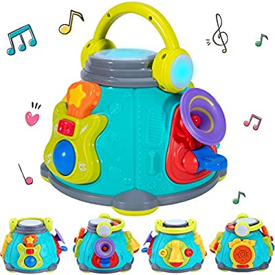 iPlay, iLearn Baby Music Activity Cube Play Center, Kids Karaoke Singing Sensory Toys, Lights Sounds, Guitar Drum Microphone Trumpet Gift for 12 18 Months, 1 2 3 Year Olds, Infants Toddlers Girls Boys