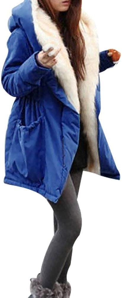 STORTO Women Winter Warm Coat,Thick Fleece Jacket Solid Faux Fur Parka Hooded Trench Outwear