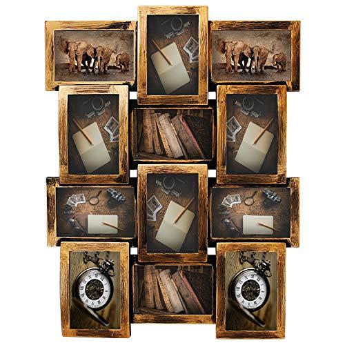Jerry & - Marco de fotos Maggie 23 x 18 retro acabado bronce PVC marco de fotos selfie galería collage pared para 6 x 4 fotos – 12 tomas de fotos – estilo clásico de lealtad – Diseño de montaje en pared