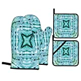 F-shop Tie Dye Decor Star Inside Square Shaped Kaleidoscope Tie Dye Motive with Outer Figures Image Teal Blue Oven Gloves and Pot Holders Set Personalized Barbecue Cooking Mitts