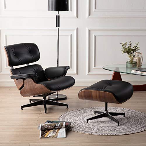 1INCHOME Lounge Sessel und Ottomane, Wohnzimmerliege aus Naturleder, Replica Mid Century Bürostuhl Lehnsessel Einzelsofa mit Hochleistungsfußstütze (Nussbaum + Schwarzes Leder)