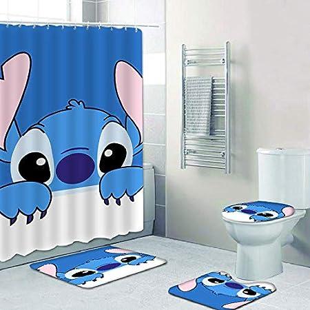 Stitch Shower Curtain Waterproof Bath Curtains with 12 Hooks Bathroom Decoration