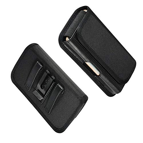 DFV mobile - Horizontal Metal Belt Clip Holster with Card Holder in Textile and Leather for LeEco Le Pro3 Elite (2017) - Black