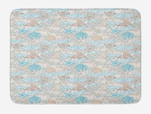 Ambesonne Nautical Bath Mat, Pastel Toned Sea Shell Starfish Mollusk Seahorse Coral Reef Motif Design, Plush Bathroom Decor Mat with Non Slip Backing, 29.5' X 17.5', Tan Turquoise