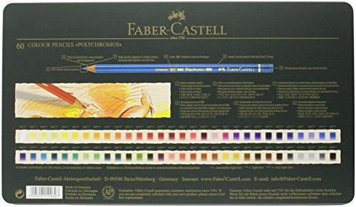 Faber-Castell 110060 - Farbstifte Polychromos, 60er Metalletui, verschiedene Farben