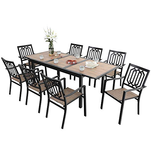 PHI VILLA 9 PCS Outdoor Dining Set,1 Extendable Wood Like Top Dining Table and 9 Sling Chairs for Outdoor Backyard Bistro Furniture Set