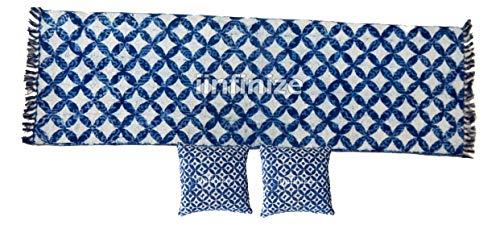 iinfinize – Juego de 3 piezas de fundas de cojín, diseño de Kilim azul índigo, 2 x 6 pies y 18 pulgadas, juego de fundas decorativas de algodón teñido de corbata, tapete de piso Dhurrie para sofá, funda y alfombra para interiores y exteriores