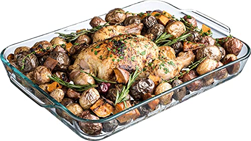 Simax Glass Roaster Baking Dish: Large Rectangular Roaster Pan For Baking And Cooking - Oven and Dishwasher Safe Cookware – 5 Quart Oven Casserole Pan