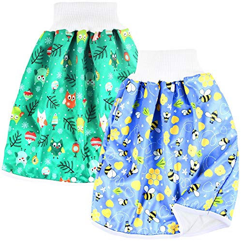 Langsprit Unisex Baby Cloth Diaper Guards for Potty Training - Reusable Diaper Skirt/Short for Night Time - Washable Mattress Cover - Bedwetting and Incontinence Cover Pads for Babies & Toddler