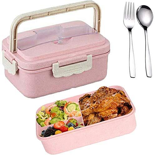 SunAurora Bento Boxen, Lunch Box, 1000ML Brotzeitbox Auslaufsicher, Mikrowellengeeignet und Spülmaschinenfeste Brotdose, mit Griff und Edelstahlbesteck (Rosa)