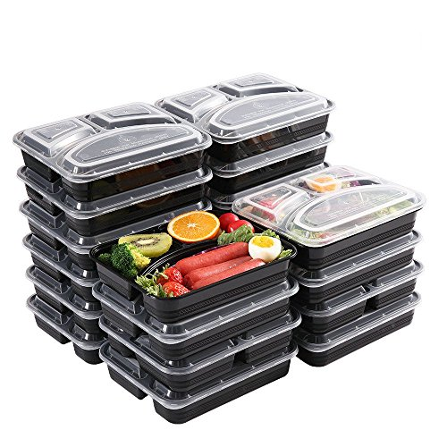Meal Prep Containers [20 Pack] 3 Compartment Food Storage Containers,BPA Free,Stackable Bento Box,Containers Microwavable,Freezer,and Dishwasher Safe,Lunch Containers(32 oz)
