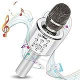 Micrófono Karaoke Bluetooth con Modo Dueto Luces Led 7 colores Para Fiestas Microfonos infantiles para niños niñas o amigos Compatible con IOS Android Windows (Plata)