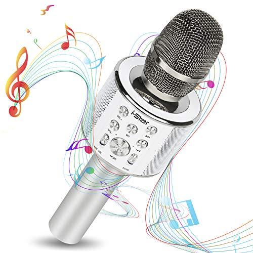 Karaoke Mikrofon Bluetooth mit 5W Lautsprecher - Mikrophon Kabellos mit Duett-Funktion für Kinder und Erwachsene - kompatibel mit Android/IOS/PC Laptop