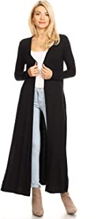 Women's Comfy Open Front Maxi Drape Longline Duster Cardigan with Pockets