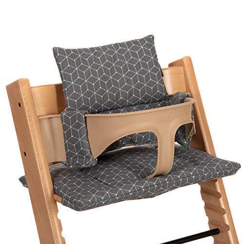 LaLoona Hochstuhl Kissen/Sitzkissen für Stokke Tripp Trapp - 2-teilige Hochstuhlauflage/Sitzverkleinerer für Kinderhochstuhl - Grau Weiß