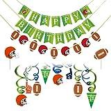 Amosfun football joyeux anniversaire bannière thème du football banderoles bannière gâteau toppers football américain suspendus tourbillon décor anniversaire fête favors décor 44pcs