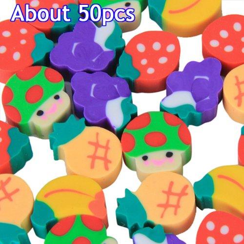 50x Mini Obst Formen Bunte Radiergummis