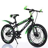 Bicicletas para NiñOs De 8 a 14 añOs, Bicicletas con Frenos De Doble Disco, Cuadro De Acero Al Carbono con Amortiguadores para Bicicletas De Montaña (Ruedas De 20 Pulgadas) Highversion Green