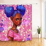 JHTRSJYTJ Schwarzes afroschwarzes Mädchen rosa Herz Duschvorhang ist geeignet für Badezimmer,Polyester wasserdicht,12Haken,150X180cm,Wohnkultur