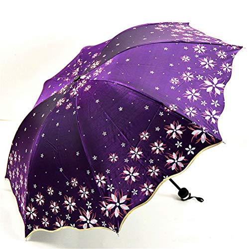 DFSDG Beautiful Flowers Ombrello Moda Scintillio Colore Cambiare Le Donne Ombrelli Blossom Girl Sun Parasole Regalo (Color : Style 4)
