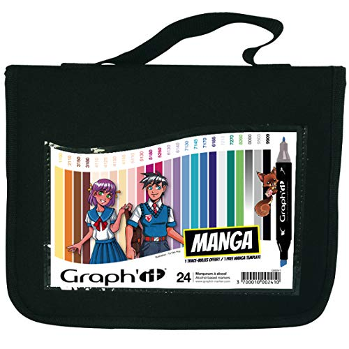 Graph'it Lot de 24 Marqueurs à alcool double pointe Manga colors