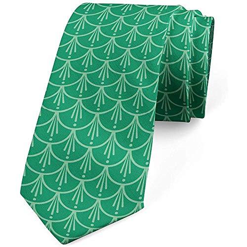 Corbata, Patrón de plumas de pavo real, Verde jade Verde menta