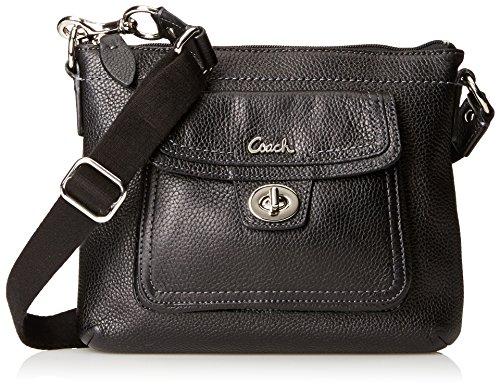 Hot Sale Coach Leather Pocket Swing Pack Bag Purse Black F45012