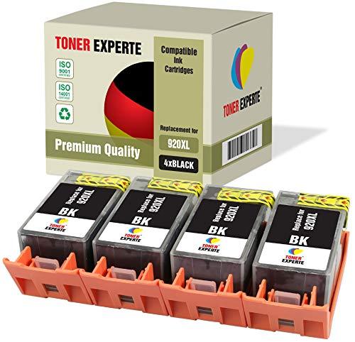 4 XL TONER EXPERTE Compatibles con HP 920XL 920 XL CD975AE Cartuchos de Tinta para HP Officejet 6000, 6500, 6500A, 7000, 7500A (4 Negro)