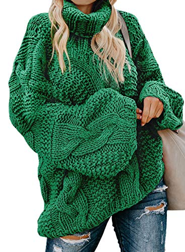 Modasua Damen Strickpullover Oversize Pullover Grobstrickpullover Sweatshirt Langarmshirt Rollkragen Casual Winter Kleid Übergroß Top,1 Grün,XXL