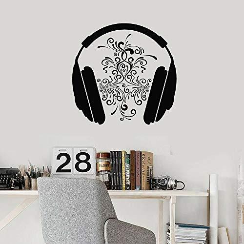Sala de música auriculares de música amantes de la música auriculares de música pegatinas de pared de vinilo