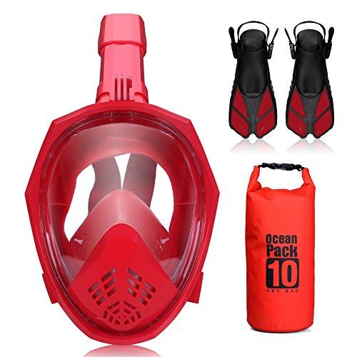 Set de Máscara de Buceo Plegable ACALI - Máscara de Snorkel de Cara Completa con Aletas de Buceo y Bolsa Seca de PVC Impermeable de 10L para Adultos Juventud - Easy-Breathe- Family Happy Time