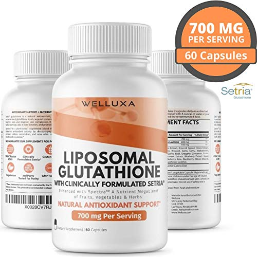 Liposomal Glutathione Setria® (700 mg) - Pure Reduced Glutathione...