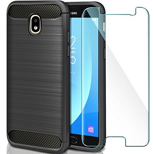 AROYI Coque Samsung Galaxy J5 2017 + Verre trempé écran Protecteur, Coque Silicone TPU Bumper Etui Housse + Film Protection d'Écran en Verre Trempé pour Samsung Galaxy J5 2017-Noir
