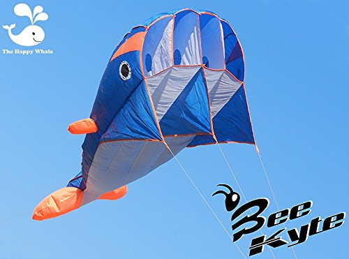 Bee-Kite Happy Whale - Cometa monocable Parafoil 220 x 75 cm. sin...