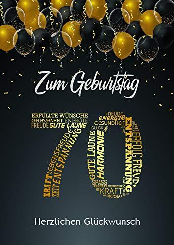 Elegante Glückwunschkarte 70. Geburtstag Geburtstagskarte A5 mit Nummer und Glückwünschen Schwarz Gold 70. Geburtstag
