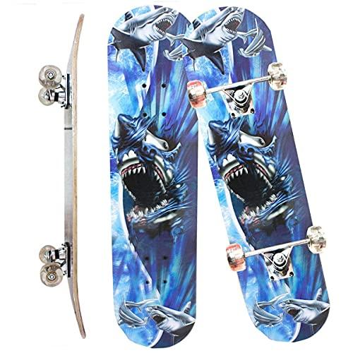 Skate Skateboard Iniciante Completo Madeira Modelos 78 Cm (COR: AZUL TUBARÃO)