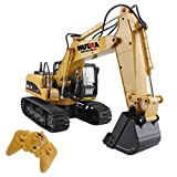 Fisca Remote Control Excavator RC Construction Vehicles 15 Channel 2.4G Full Function Digger Toys with Sound and Lights