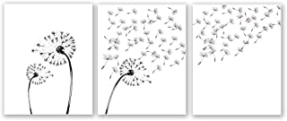 """Dandelion Flower Art Print, Blowing Away in The Wind Set of 3 (8""""X10"""" Canvas Abstract Floral Art Painting Living Room Home Decor,No Frame"""