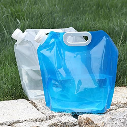 WWJQ Bolsa de Agua Plegable, Envase de Agua Depósito al Aire Libre de sin BPA Grado Alimenticio para Camping Senderismo Emergencia, Sin Fuga, 2Piezas