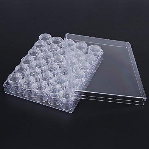 Tarros cosméticos de plástico vacíos Contenedores de almacenamiento de cuentas de plástico transparente Set Anillo DIY Diamante Rhinestones
