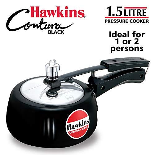 Hawkins CB15 Hard Anodised Pressure Cooker, 1.5-Liter, Contura Black